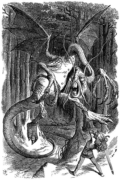Illustration to the poem JabberwockyFirst published in Carroll, Lewis. 1871. Through the Looking-Glass, and What Alice Found There.